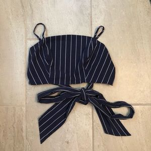 Navy white striped crop top with front tie